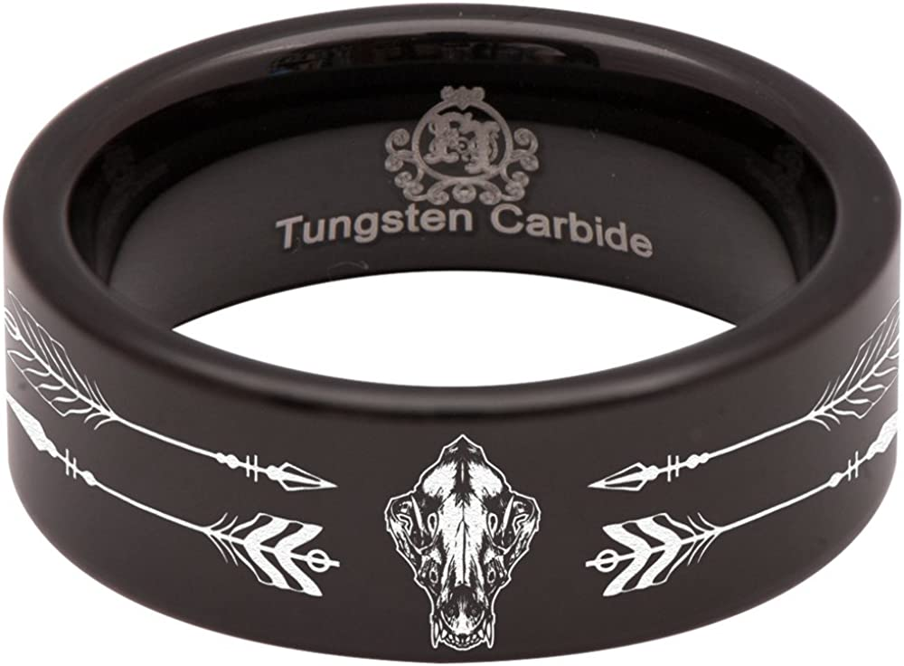 Black Tungsten Carbide Wolf Skull and Arrows Ring 8mm Wedding Band and Anniversary Ring Fit for Men and Women Size 13