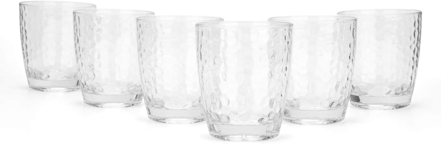 Hammered 15-ounce Plastic Tumbler Acrylic Glasses, set of 6 Clear