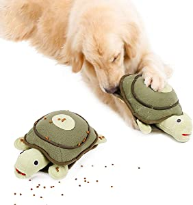 PUMYPOREITY Cute Plush Turtle Dog Toys, Interactive Puzzle IQ Squeaky Toy for Puppy Cat, Dog Sniffing Training Toy, Interesting Dog Feeding Toy, Pet Activity Stuffed Toy for Stress Release
