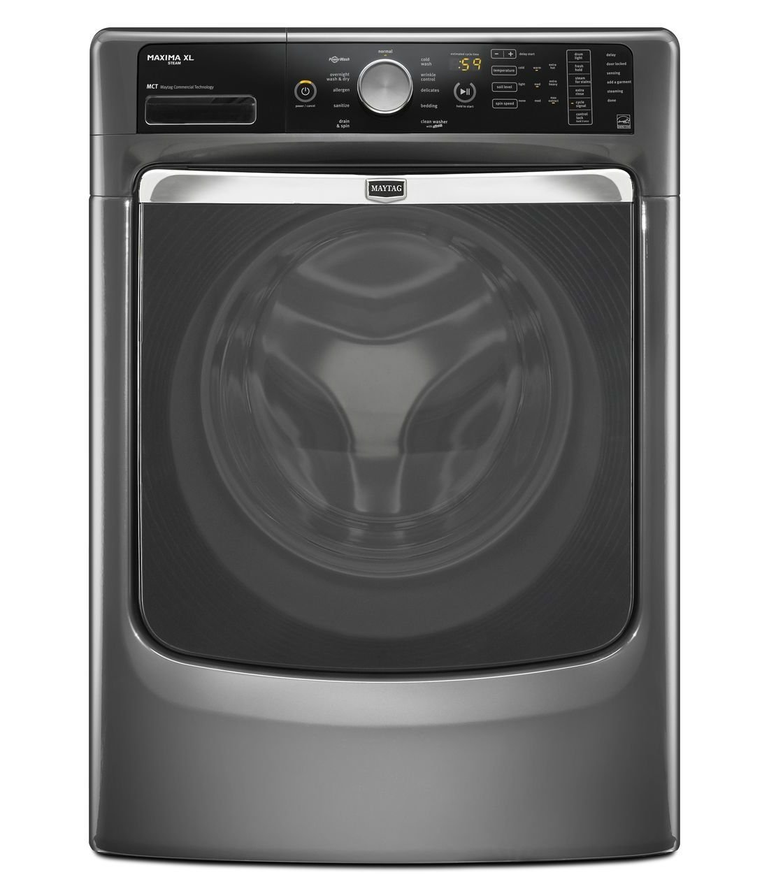 amazoncom maytag maxima xl front load steam washer and steam dryer set electric dryer with pedestals appliances