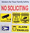 Brushed silver NO SOLICITING sign sticker for business office or home, chrome finish foil paper. Satisfaction or free!
