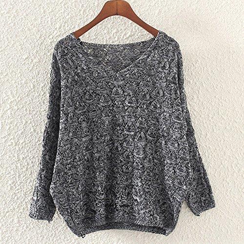 Women's Sweater, Women's Hollow Out Bat Long Sleeve Loose V Collar Sweater (Dark Gray, Free) by SOUND JUNKU (Image #1)