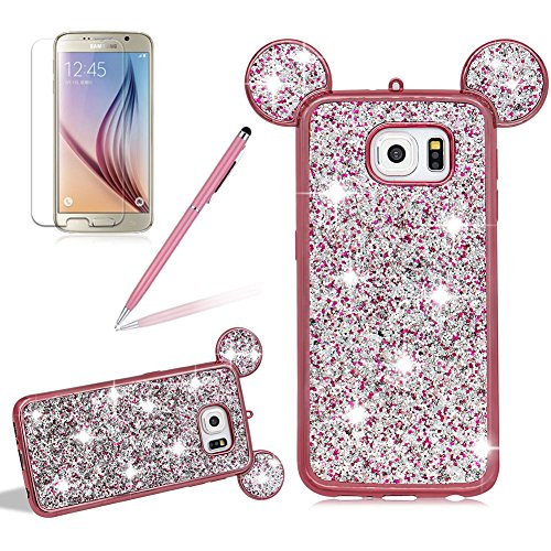 Girlyard For Samsung Galaxy S7 Edge Bling Diamond Silicone Case Cover Shiny Crystal Rhinestone Mouse Ears Soft TPU Protective Case 3D Novelty Design Ultra Slim Plating Frame Cover Rose Gold