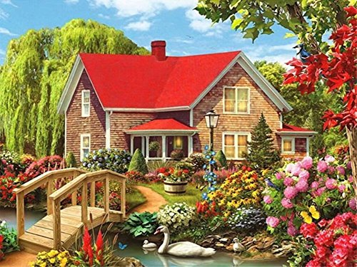 Lovepr 5D DIY Diamond Painting Full Square Drill Country Cottage Rhinestone Embroidery Arts Craft Adults Children Paint By Number Kits Cross Stitch for Wall Decoration 12X16 inches by Lprtalk
