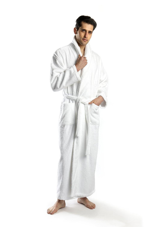Amazon.com  TurkishTowels 24 Ounce Alaskan Full Length Terry Bathrobe in  White - Small  Clothing 4e528bd7f