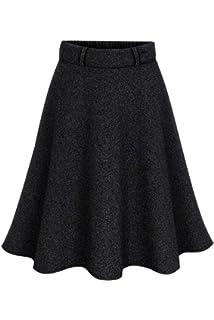 Zilcremo La Mujer Otoño Invierno Lana Elegante Cintura Alta Falda  Acampanada con Cinturon De Swing Midi 4668417a6258