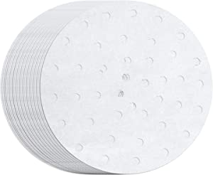 MineDecor 100 Count Perforated Parchment Paper Bamboo Steamer Liners for 8 inch Air Fryer Parchment Paper