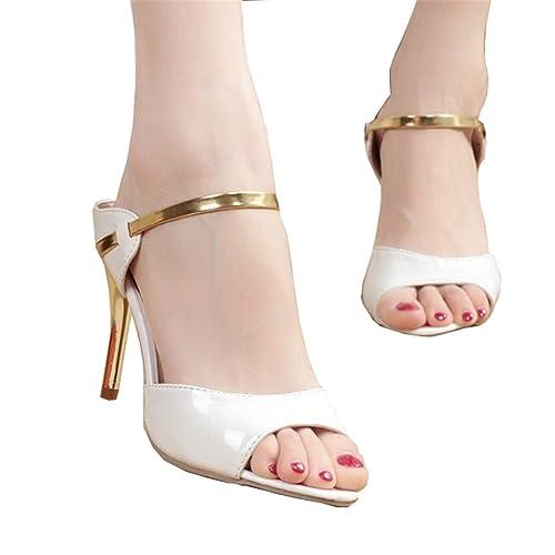 cdfd56a4d2af5 Women Sandals Sexy High Heels Women Pumps NEW Women Shoes Gold Silver  Summer Sandals Heels Ladies Shoes white 8.5  Amazon.ca  Shoes   Handbags