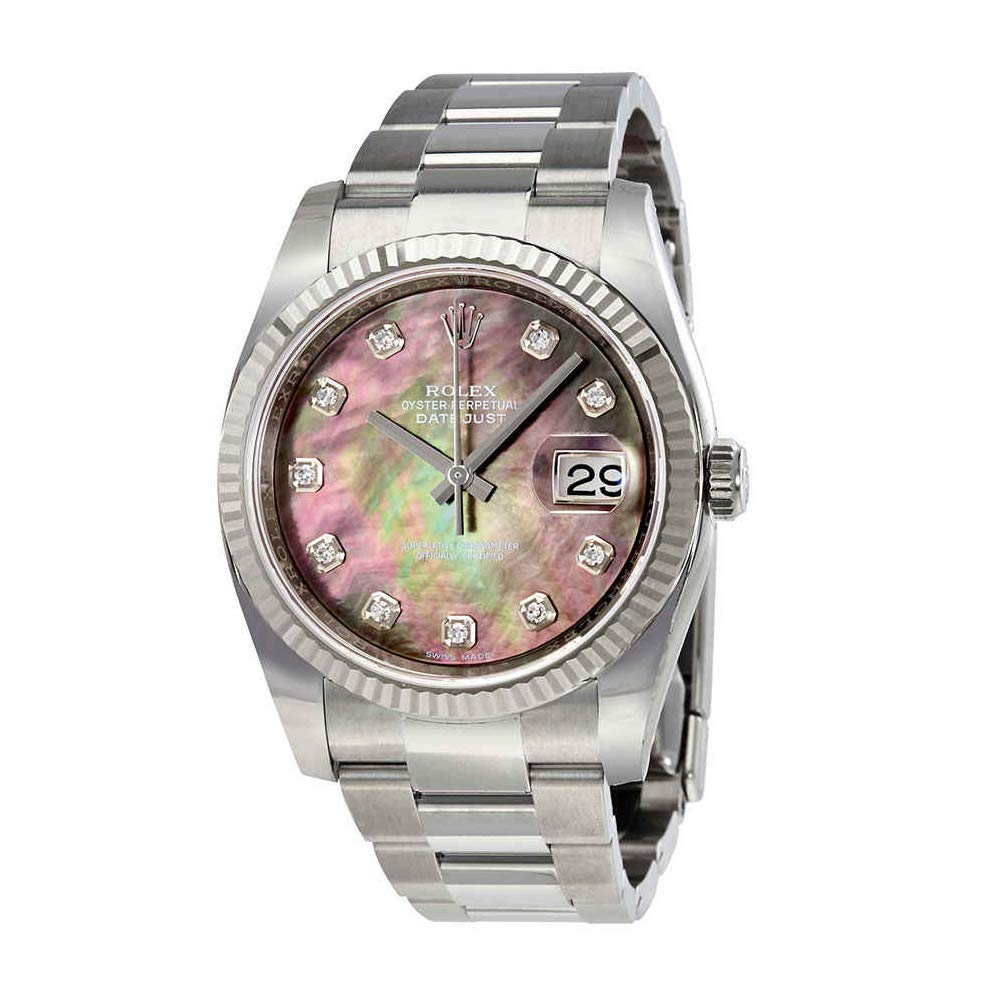 Amazon Com Rolex Oyster Perpetual 36 Mm Black Mother Of Pearl Dial