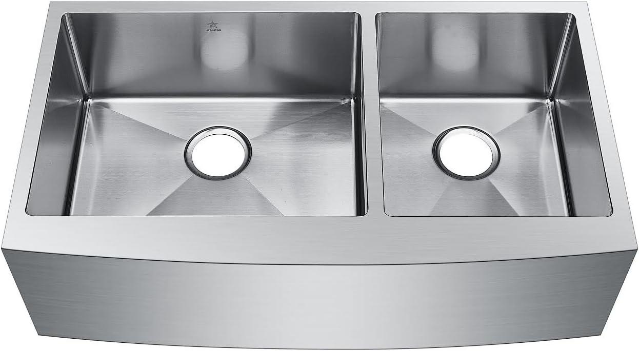 Starstar 35 X 20 Inch Undermount Farmhouse Apron 60 40 Double Bowl 16 Gauge Stainless Steel Kitchen Sink