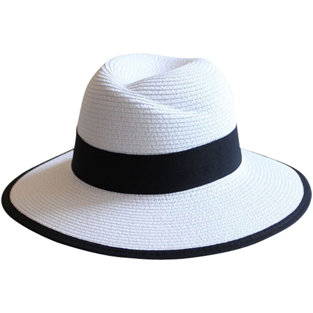 JOYEBUY Womens UPF50 Foldable Summer Straw Hat Wide Brim Fedora Sun Beach Hat (Style E-White)