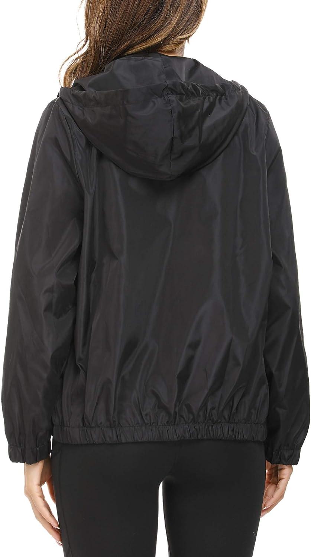 Akalnny Manteau Imperm/éable Femme avec Capuche Veste De Pluie Courte pour Femme Zipp/é Raincoat