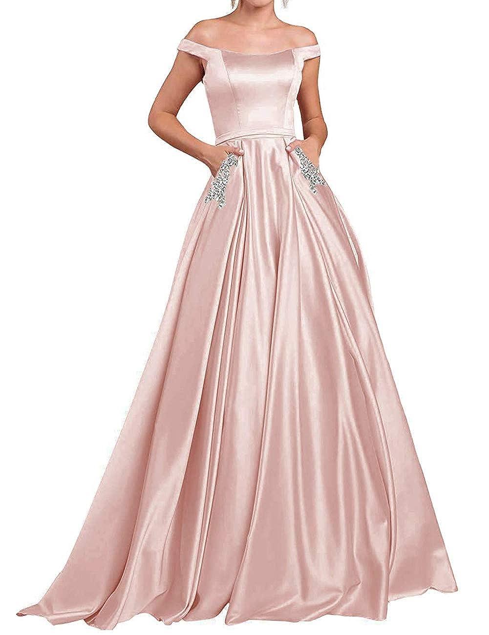 bluesh JAEDEN Prom Dresses Long Formal Evening Gowns with Pocket Off The Shoulder Prom Dress A line Evening Dresses