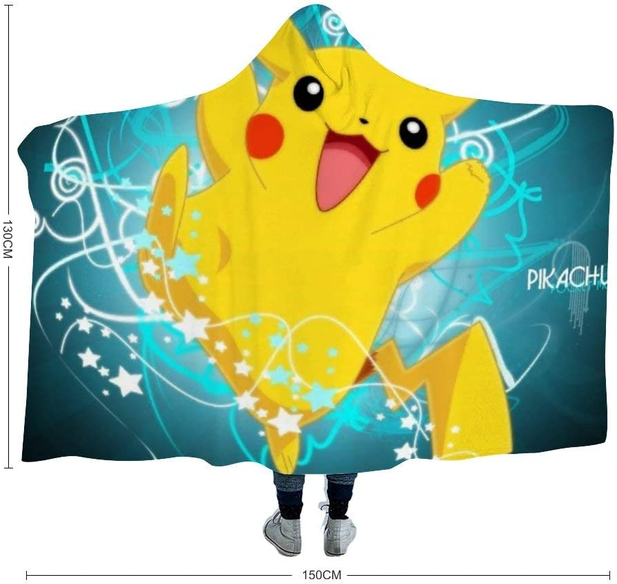 46 Kids,39x51 inch MEW Anime Poke-mon Hooded Blanket,Poke-mon Pikachu ,Fleece Flannel Wearable Super Soft Warm Throw Blanket,for Winter Sofa School Home Travel Picnic Carrying