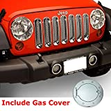 Razer Auto 7pcs Triple Chrome Plated Trim Mesh Grille Insert and Direct Bolt on Gas Cover Combo for 07-17 Jeep JK Wrangler