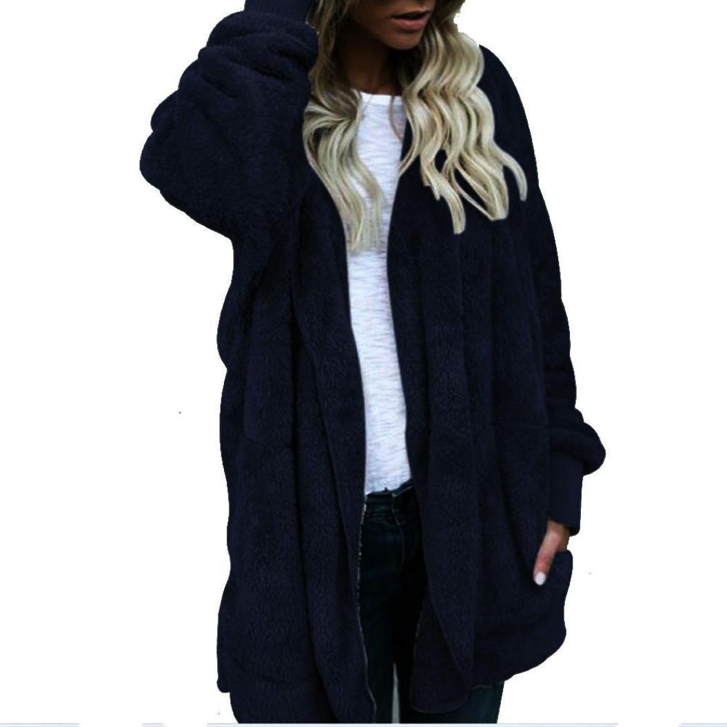 Sunward Women's Winter Open Front Loose Hooded Wram Faux Fur Coat Fluffy Outwear Jacket 54sgvd