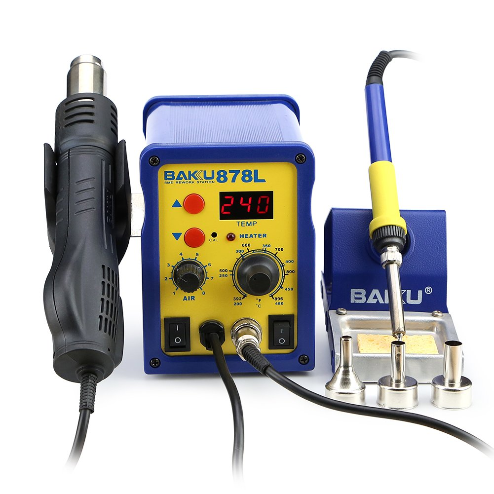 BAKU BK-878L 110V 2 in 1 LED Digital Soldering Station Hot Air Rework Station Mobile Phone Repair Tools (BK-878L)