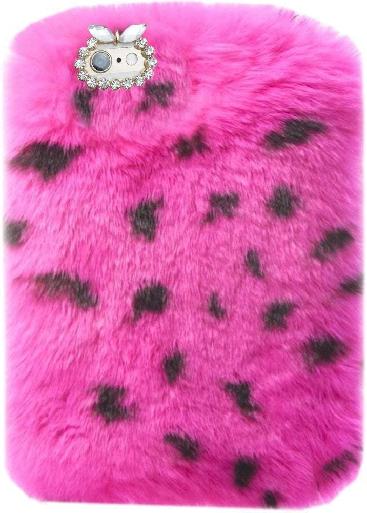 "Super Deluxe Luxury Winter Fashion Bling Rhinestone Fuzzy Faux Rabbit Furry Fluffy Beaver Rex Rabbit Fur Protective Case for Lenovo PHAB Plus 6.8"" PB1-770N PB1-770M PB1-770 (Rose Leopard)"