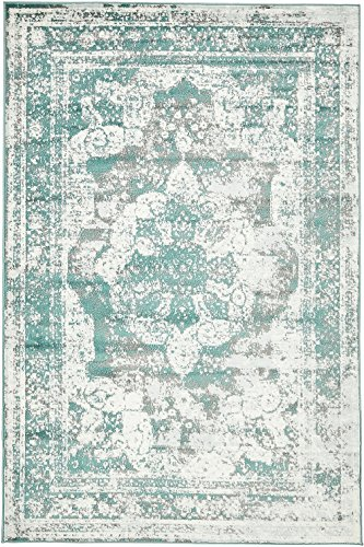 Traditional Persian Vintage Design Rug Gray Rug Turquoise 4'