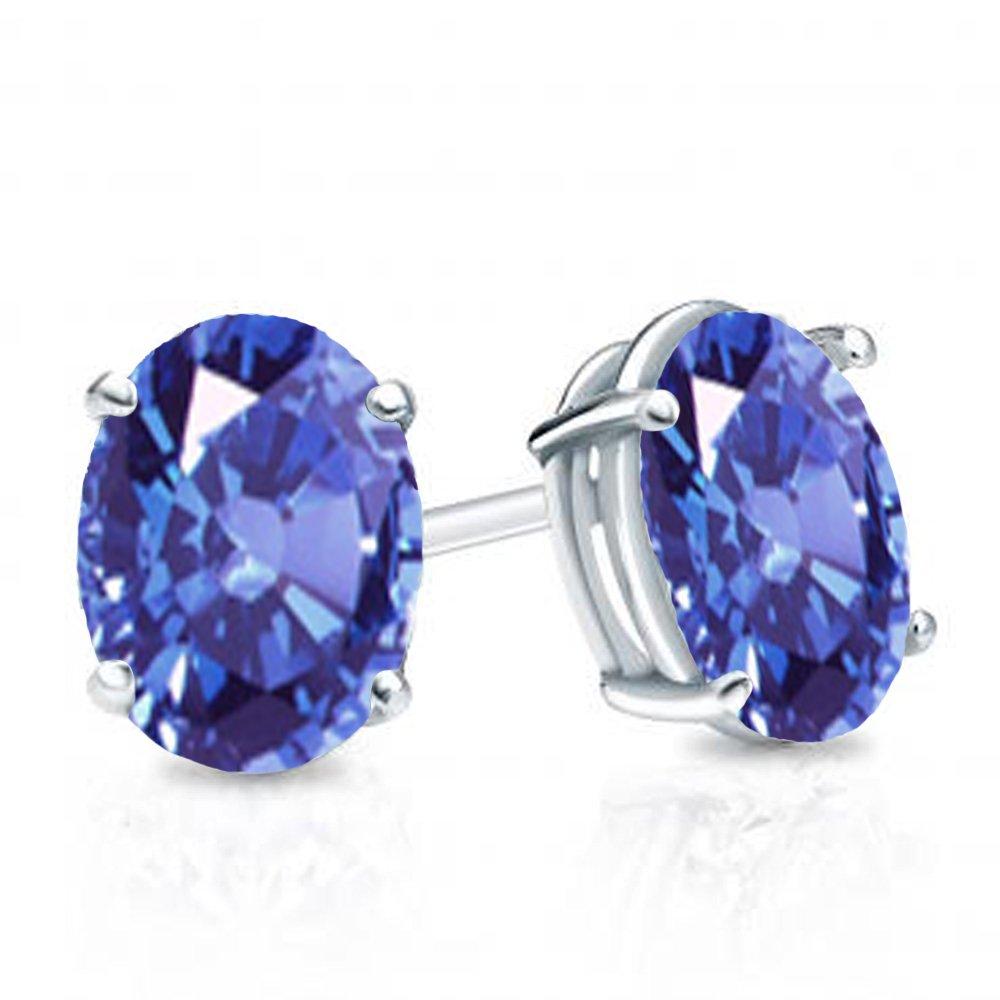 Sterling Silver 6x4 mm each Oval Cut Tanzanite Ladies Solitaire Stud Earrings