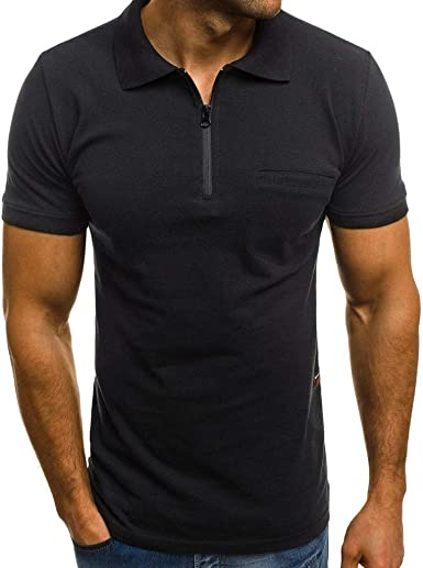 Abetteric Mens Business Skinny Turn Down Collar Plus Size Polo Shirt