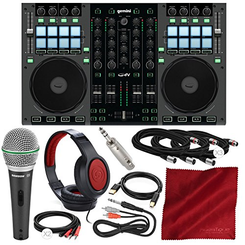 (Gemini G4V 4-Channel Virtual DJ Controller and Mixer with Samson Dynamic Microphone, Closed-Back Headphones, and Deluxe Bundle)