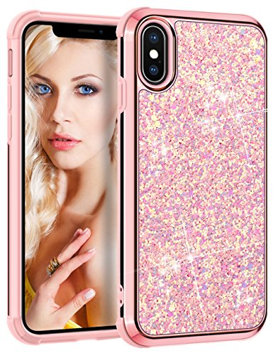 Vofolen Case for iPhone X iPhone XS Case Bling Glitter Sparkle Shiny Colorful Protective Back Cover Dual Layer Hard Shell Flexible Fit Soft Rubber Bumper Armor for iPhone XS iPhone X 10 10S -Rose Gold