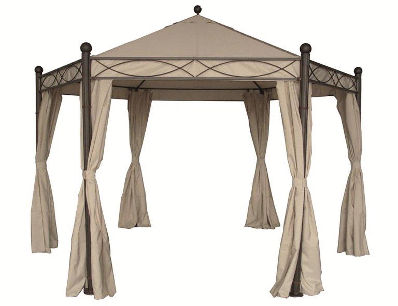 Siena Garden 577524 Pavillon Kenia II, Dach u. Seitenteile, L 200 x 6 Seiten x H 295  Ø385, natur