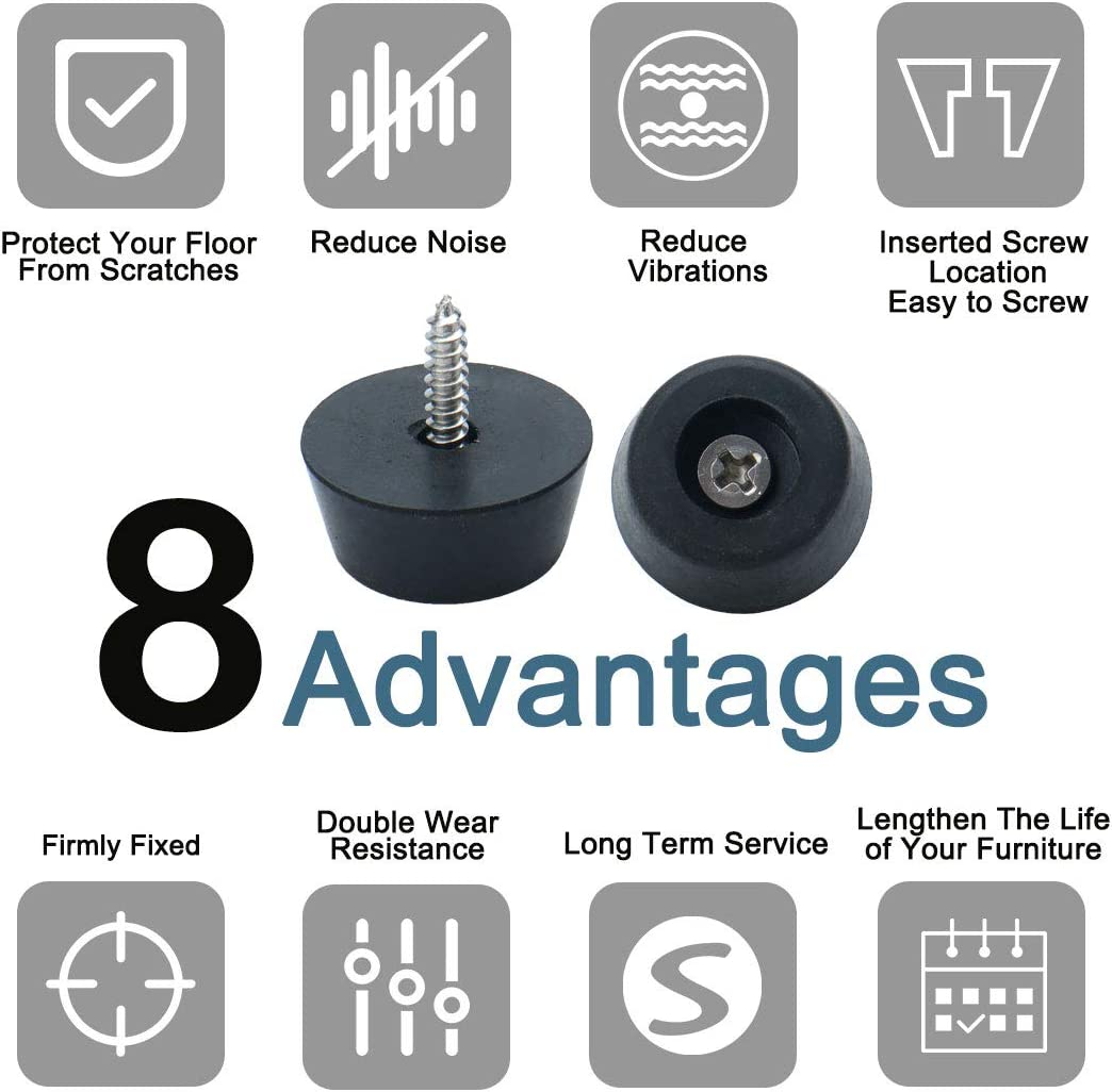 uxcell/® 8pcs Rubber Feet Round Bumper Furniture Chair Printer Speaker Floor Protector Cabinet Leg Pads with Screws D20x15xH17mm