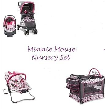 4 Piece MINNIE MOUSE NURSERY SET Stroller Car Seat Travel System Play Yard Crib Bouncer