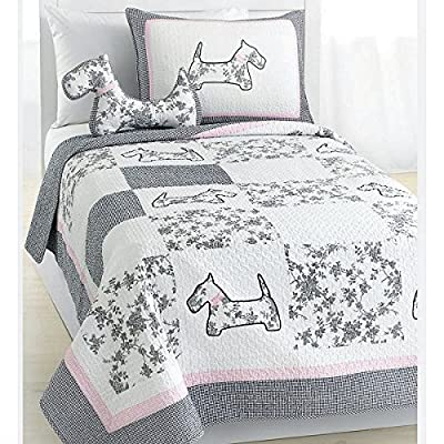 Cozy Line Home Fashions Scottie Pup White Grey Dog Pattern Printed Patchwork Cotton Bedding Quilt Set Coverlet Bedspreads (Grey/White, Queen - 4 Piece: 1 Quilt + 2 Standard Shams + 1 Decor Pillow): Home & Kitchen