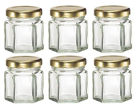Nakpunar 60 Pcs 15 Oz Mini Hexagon Glass Jars For Jam Honey Wedding