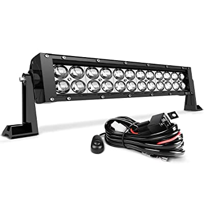 LED Light Bar AUTOSAVER88 16 Inch LED Work Light 4D 144W with 8ft Wiring Harness Kit, Straight Fish Eye Lens 12000Lumens Offroad Automotive Spot & Flood Combo Beam: Automotive