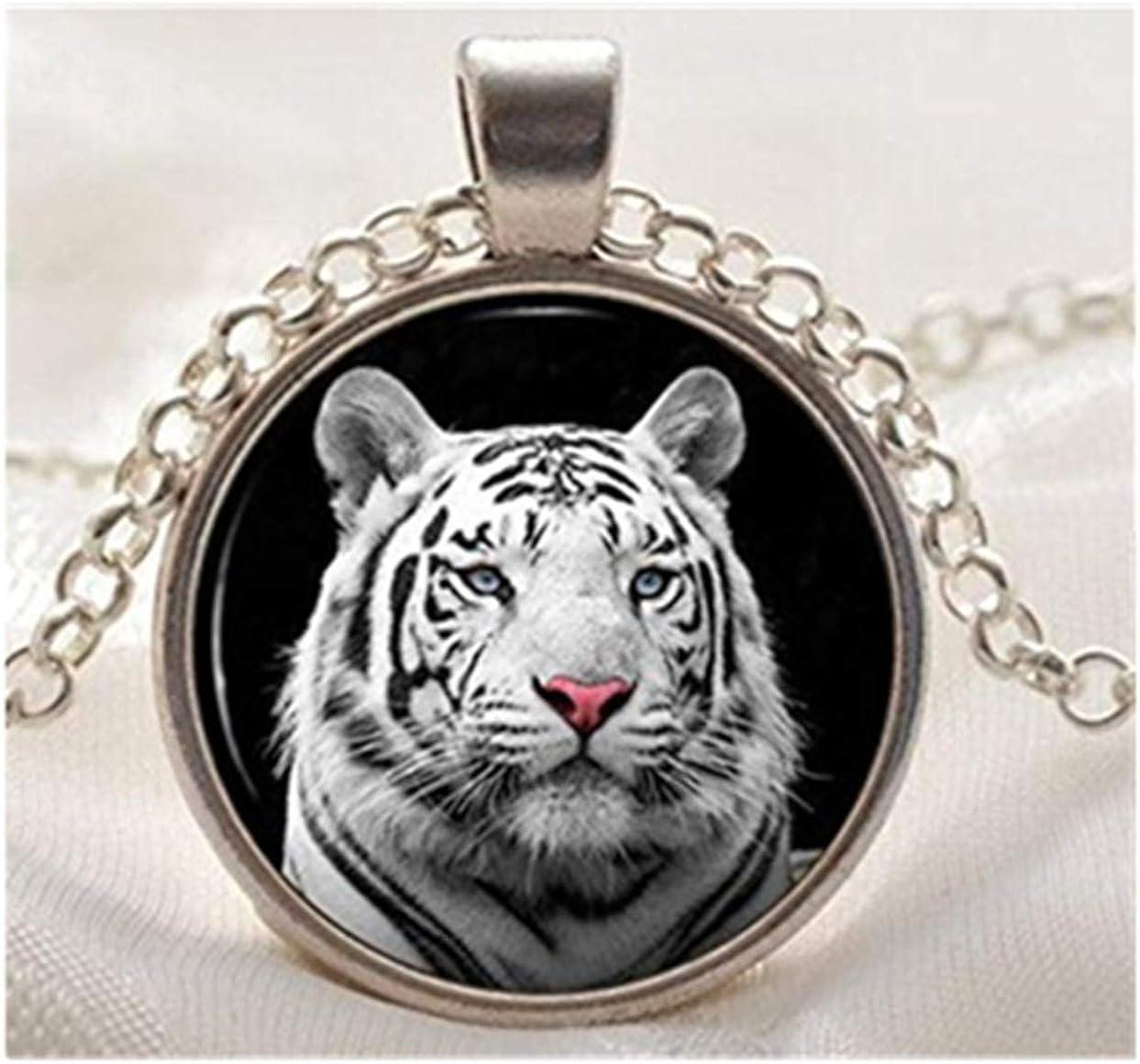 Rare Wild Animal Jewelry Blanc Argenté Tigre Collier Verre Photo Pendentif