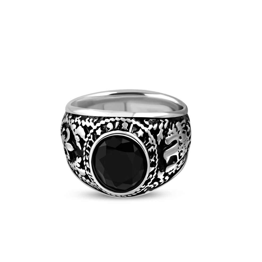 Stainless Steel 2 Color USA Bald Eagle Oval Biker Ring with Faceted Jet Black CZ