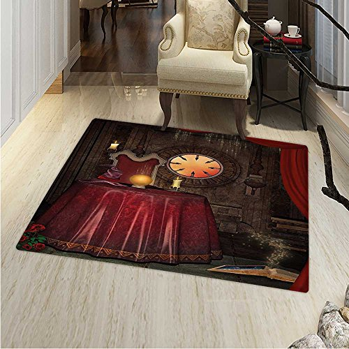 Gothic Print Area Rug Fortuneteller Room Mystic Crystal Ball Magician in Fairy Tale Image Print Perfect Any Room, Floor Carpet 4'x6' Maroon Brown