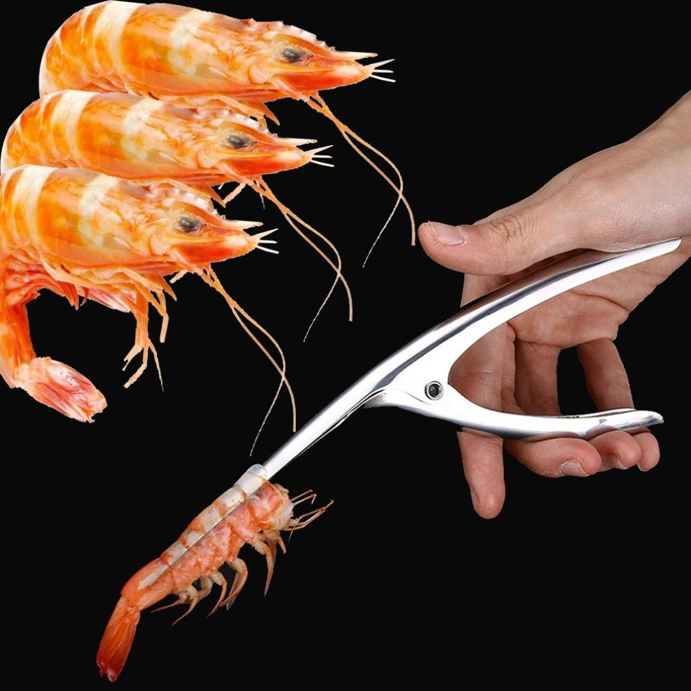 DZT1968 21cm Stainless Steel easy-grip handle Prawn Peeler Shrimp Deveiner Peel Device Creative Kitchen Tools