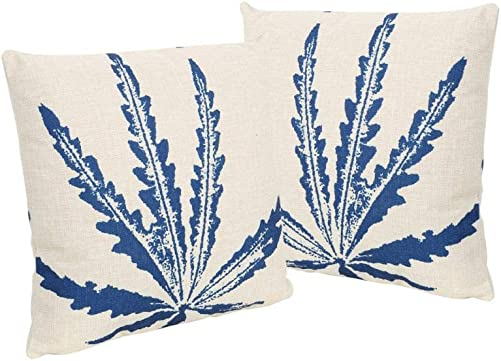 Christopher Knight Home 305502 Stella Outdoor 18 Water Resistant Square Pillows Set of 2 , Blue on Beige
