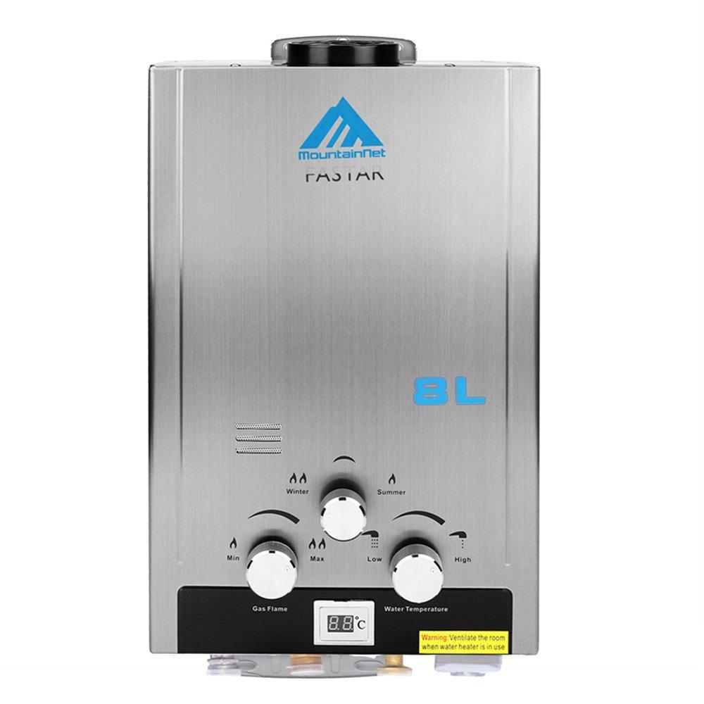 Ridgeyard 8L 2 GPM Gas Natural Instantáneo Calentador de agua doméstico Baño Ducha Caldera Acero inoxidable: Amazon.es: Bricolaje y herramientas