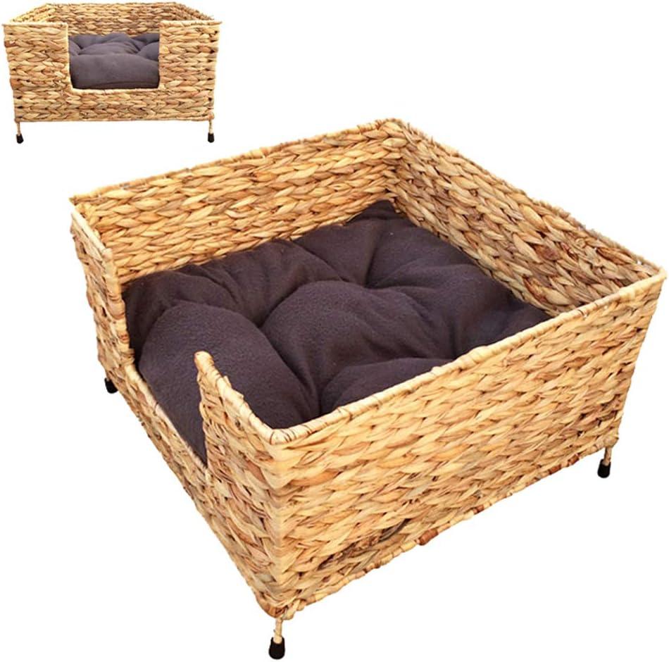 枝編み細工品ペットベッド、籐猫と犬のソファ、四季の普遍的なペットの巣、猫登山フレーム、マットレス39 * 39 * 24 cm