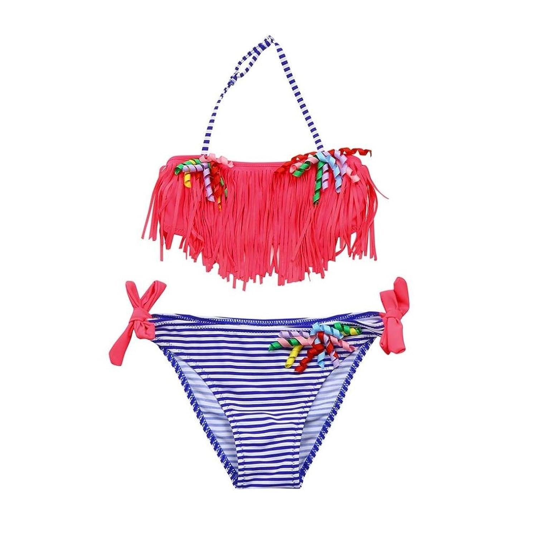 3ec7cb0c9 70% OFF Bañador para niña K-youth® Rayas Borla Conjunto de Bikini Niñas