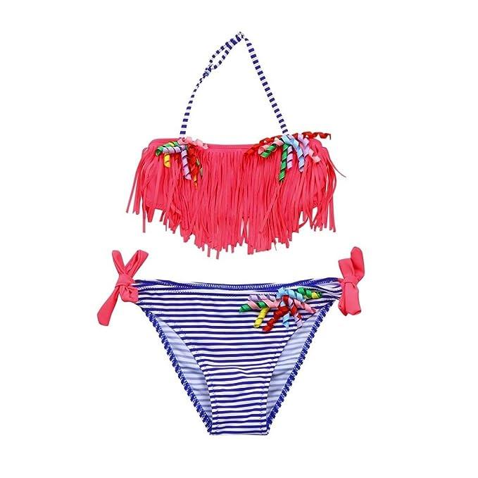Bañador para niña K-Youth® Rayas Borla Conjunto de Bikini Niñas Traje de Baño Niña Bikini Conjunto de Traje de baño Bañador de Dos Piezas para Niña de ...