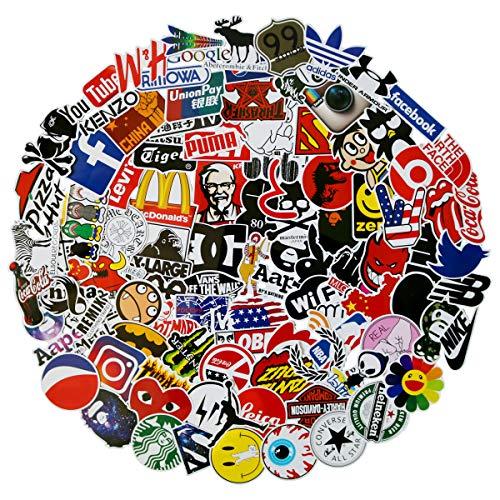 Find Bargain 100Pack Logo Brand Stickers Set Random Sticker Decals for Water Bottle Laptop Cellphone...
