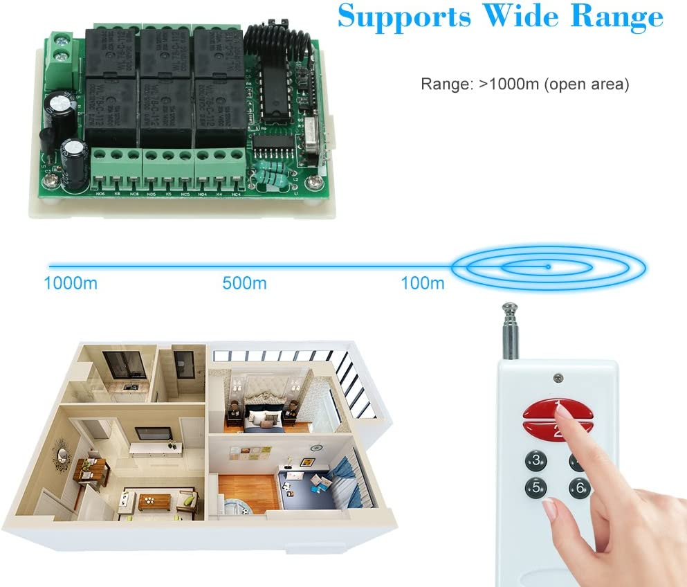 2262 Chip KKmoon 433Mhz DC 12V 6CH Channel Universal 10A Relay Wireless RF Remote Control Switch Receiver Module and 3PCS 6 Key RF 433 Mhz Transmitter Fixed Code