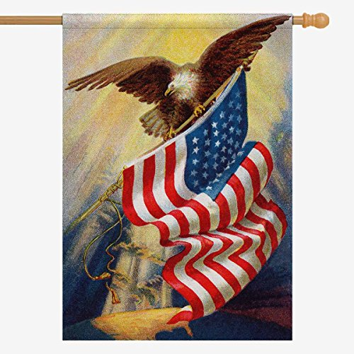 InterestPrint Vintage Memorial Day Independence USA Flag Polyester Garden Flag House Banner 28 x 40 Inch, 4th of July American Bald Eagle Decorative Flag for Anniversary Home Outdoor Garden Decor For Sale