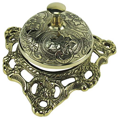 Antique Style Ornate Solid Brass Hotel Counter Desk Call Service Bell