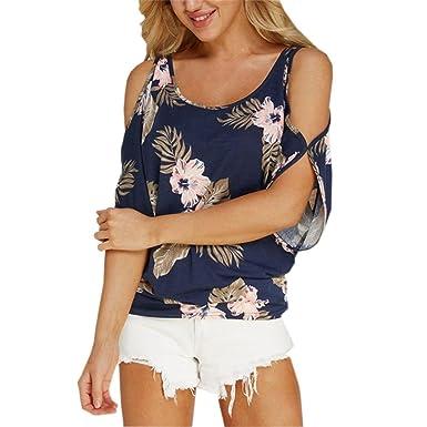 5f88e9e0d531 LeeY Damen Kurzarm-Shirt Oberteile Tanktop Sexy Schulterfrei Bluse Weste  Frauen Neu Frühling Sommer Rundhals