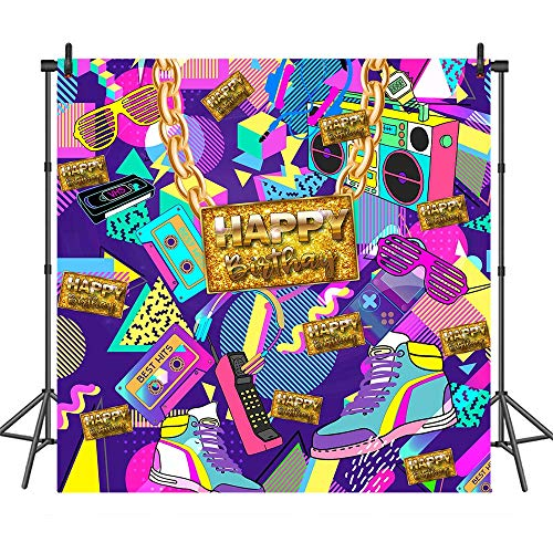 COMOPHOTO 80's 90's Themed Birthday Photography Backdrops Graffiti Rock Radio Hip Pop 80s 90s Party Banner Decoration Portrait -