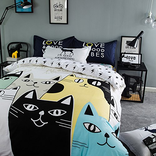 TheFit Paisley Textile Bedding for Teenager Girls and Boy U703 White Town of Meow Cat Duvet Cover Set 100% Cotton, Twin Queen King Set, 3-4 Pieces (Twin) by TheFit (Image #4)
