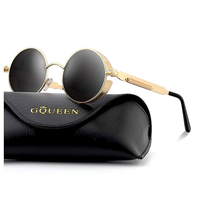 GQUEEN Steampunk redonda Retro Metálico gafas de sol polarizadas para hombres y mujeres con protección UV400 MTS2: Amazon.es: Ropa y accesorios